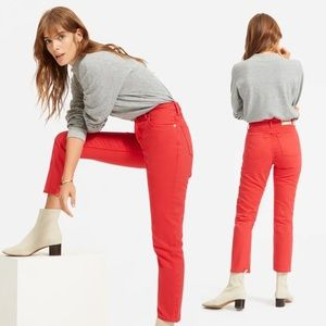 Everlane 90s Cheeky Straight Jeans Red High Rise